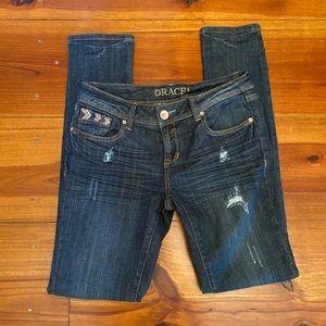 GRACE in LA Skinny Distressed Jeans Sz 28
